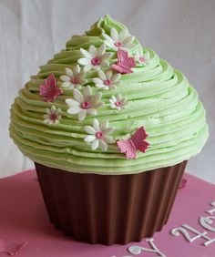 Giant Cupcake - Butterflies and Daisies
