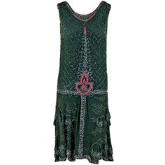 1920's green-grey beaded silk-chiffon dance dress. It is embellished all over with silver & pink glass-beads, whose faceted cut creates a dazzling sparkle.