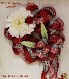 Ladybug Mesh Summer Wreath Tutorial