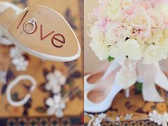 Brides shoes engraved with love.  Photos by Vanessa Joy
