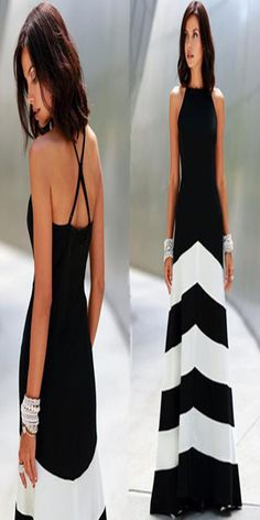 Style:Sexy Color:As picture Material:Polyester Size:S/M/L Retro Styles, Nice Dresses, Formal Dresses, Fashion Skirts, Fashion Statements, Striped Maxi, Dress Party, Backless, Black And White