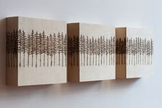 "Wood-burned triptych by Emilie Crewe 3(6"" x 6"" x 1.5"" wood panels) #tree #art #triptych #canadiana #lodgepole #pines #pyrography"