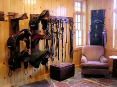 Tack Rooms - like the tile for easy cleaning, chair, cooler display, add utility sink, mini fridge and dog beds