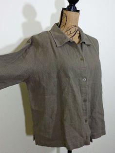 Eileen Fisher jacket lagenlook top art to wear artsy mocha Linen sz PL New $118 #EileenFisher #BasicJacket