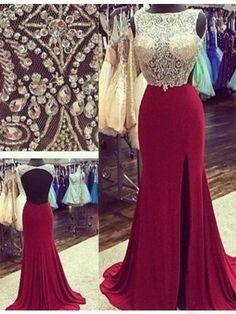 burgundy prom dresses,split prom dresses,backless prom dresses #SIMIBridal #promdresses