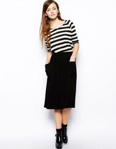 Black Midi Skirt With Deep Pockets, Striped Half-Sleeve Tee, Boots and Short Socks