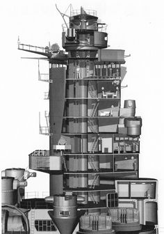 IJN battleship Yamato-class or other IJN battleship interior structure floor plans. Montana Class Battleship, Yamato Class Battleship, Hms Vanguard, Soviet Navy, Hms Hood, Gun Turret, Capital Ship, Imperial Japanese Navy, Ship Drawing