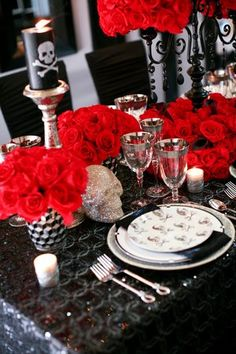 Wedding table #goth wedding ... Wedding ideas for brides & bridesmaids, grooms & groomsmen, parents & planners ... https://itunes.apple.com/us/app/the-gold-wedding-planner/id498112599?ls=1=8 … plus how to organise an entire wedding, without overspending ♥ The Gold Wedding Planner iPhone App ♥