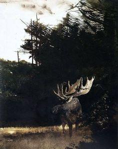 Andrew Wyeth (1917-2009) < Bull Moose > Acquerello, 1995