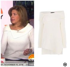 Jenna Bush Hager, Hoda Kotb, Asymmetrical Sweater, Today Show, Off The Shoulder, Chef Jackets, Blouse, Sweaters, Tops
