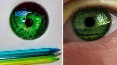 Desenhos realistas de olhos feitos com canetas esferográficas