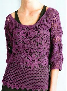Purple crochet blouse - with diagram, click on diagram to enlarge
