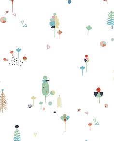 Papier peint arbres Imaginarium by Carly Gledhill Kids Prints, Baby Prints, Kids Patterns, Print Patterns, Abstract Pattern, Pattern Art, Tree Wallpaper, Inspirational Wallpapers, Screensaver