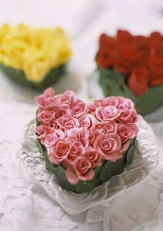Fresh roses tucked together create an elegant gift or decoration.