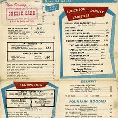 Vintage San Fernando Valley - Harvey's Restaurant menu circa 1955 Vintage Diner, Vintage Menu, Vintage Restaurant, Menu Restaurant, Restaurant Design, Diner Recipes, Retro Recipes, Vintage Recipes, Diner Menu