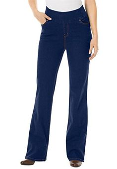 Womens Plus Size Tall Smooth WideWaist Bootcut Comfort Jeans Indigo14 T ** More info could be found at the image url.