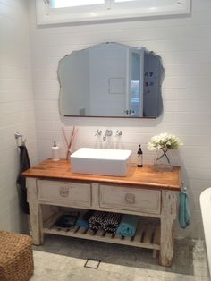 Antique white shabby chic french bathroom vanity unit sink drawers ...
