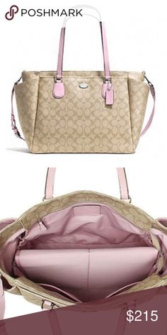 e2b6188d2a68 Coach Signature Diaper Bag Signature canvas with leather trim