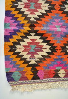 Sukan / VINTAGE Turkish Kilim Rug Carpet handwoven kilim by sukan,