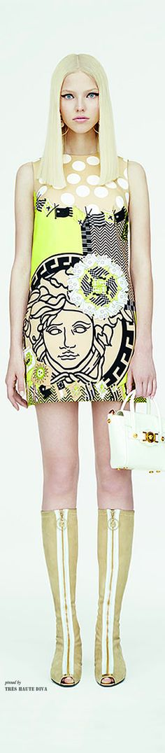 Versace Resort 2015 - where shall I start? 1. stupid facial expression on model, 2. lousy posture, 3. dress makes model look washed out, 4. huge design of dress chops up the human figure making her look shorter, 5. cut off dress will also not be flattering to most women either. 6. the scale of the design is too bulky for a petite-framed woman such as this model. UGH, UGH, UGH!