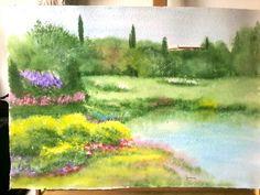 Giardini fioriti sul lago a Rivalta.Le Grazie. Acquario. Su carta a mano Fabriano.