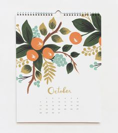 From the 2012 Botanical Calendar By Anna Bond for The Rifle Paper company.  I love her work and these colors are inspired.