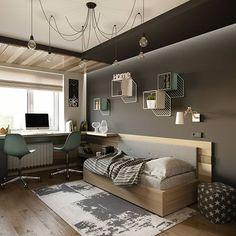modern and minimalist bedroom design ideas 32 Kids Room Design, Home Office Design, House Design, Teenage Room, Minimalist Bedroom, New Room, Home Interior, Interior Livingroom, Room Inspiration
