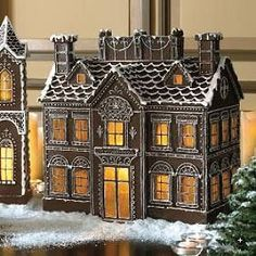 Gingerbread House -try an open back/ lift off lid for candles? (Use boiled sweets as window glass, maybe mix with clear mints like Foxes Glaciers to create paler shades) Gingerbread House Designs, Gingerbread Village, Gingerbread Decorations, Christmas Gingerbread House, Gingerbread Man, Gingerbread Cookies, Christmas Decorations, Christmas Houses, Christmas Baking