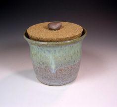 Ceramic salt cellar with lid, pottery sugar bowl jar with cork lid and rock knob, stoneware cork lidded jar, ceramic sugar bowl $30.00