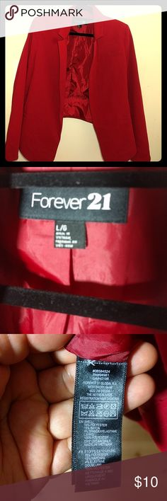 Beautiful and Sexy Forever 21 Red Blazer I use it couple times but still looks like new. * I'm not sure if you can see it but it looks like a black spot on the left side but it's not on the Blazer, it's  my camera's. Forever 21 Jackets & Coats Blazers