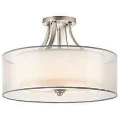 Kichler Lacey Antique Pewter Transitional Incandescent Semi-flush Mount Light at Lowe's. The Lacey™ 4 light semi flush features a classic look with its Venetian detail of curves in Antique Pewter finish and satin etched cased opal Semi Flush Lighting, Semi Flush Ceiling Lights, Foyer Lighting, Kitchen Lighting Fixtures, Flush Mount Ceiling, Ceiling Light Fixtures, Bedroom Lighting, Ceiling Lighting, Lighting Ideas