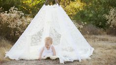LACEY -- all lace teepee with scalloped edges and white grograin ribbon accents