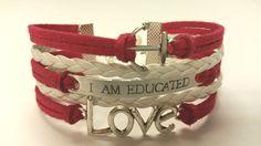Anchor Charm Bracelet, Mantra Bracelet, Faux Suede Leather Bracelet feat. Hand Stamped Affirmation & Love Connector Charm - CUSTOMIZE