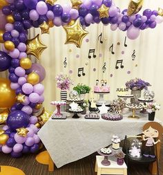 Rockstar Birthday, Purple Birthday, Music Themed Parties, Music Party, Balloon Decorations Party, Birthday Party Decorations, Birthday Celebration, Birthday Parties, Elegant Baby Shower