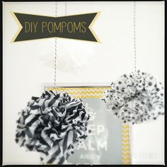 Für meine Geburtstagsfeier Anfang August habe ich einige Seidenpapier Pompoms selber gebastelt. Schon lange hängen tükisfarbene und rote Pompoms in meinem Büro, diesmal sollten es schwarz-weisse fü...