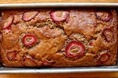 Brown Butter Banana Strawberry Bread. 6 tablespoons unsalted butter, melted and browned to just over 1/2 cup of butter, 2 cups all-purpose flour, 3/4 cup brown sugar, 1 teaspoon baking soda, 1/2 teaspoon salt, 3/4 teaspoon ground cinnamon, 2 large eggs, 1 teaspoon pure vanilla extract, 1/4 cup plain yogurt (any fat content) or buttermilk, 1 1/4 cup mashed banana (from about 3 medium bananas), 1/2 cup diced strawberries plus 1 strawberry very thinly sliced, for topping.
