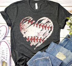 baseball heart grunge T-Shirt This t-shirt is Made To Order, one by one printed so we can control the quality. Sports Mom Shirts, Softball Shirts, T Shirts For Women, Softball Clothes, Softball Cheers, Softball Memes, Softball Workouts, Softball Uniforms, Softball Problems