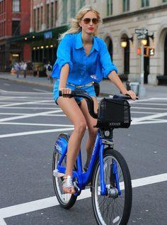 Karolina Kurkova on Citi Bike.