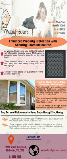 To get highly efficient Security Doors Melbourne, get in touch with the people at VICTORIA FLYSCREENS.