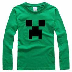 Minecraft Unisex Long Sleeve Round Collar T-shirt - Blue Products- - TopBuy.com.au
