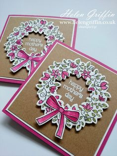 With Mother's day approaching, it's a great time to get out all your spring themed stuff from your stash and break into the pink cardstock. If she's not a fan of pink, then her fa… Mothers Day Wreath, Mothers Day Crafts, Mothersday Cards, Wondrous Wreath, Happy Mother S Day, Flower Cards, Diy Cards, Handmade Cards, Creative Cards