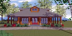 Look at this gorgeous wraparound on this smaller home. Just 1225 square feet of home but wraparound porch around all four sides. No matter the time of day, you can find a bit of shade. A porch lover's dream home. This is our affiliatel link. One set of the same plan is approx $500.