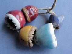 Handmade Ceramic Beads - Pod Beads - Handmade Beads - Bead Soup Beads