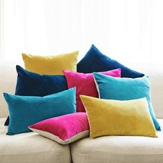Velvet & Linen Backed Cushions - Cushions & Throws - Bedroom Graham and Green £30 each