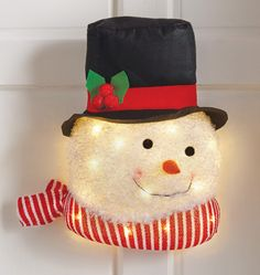 Lighted Happy Snowman Hanging Wall Decoration