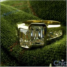 """2 Emerald cut 1 Carat Each Channel Set Ring. The """"Together Ring""""❤️ Cubic Zirconia Engagement Rings, Diamond Engagement Rings, 1 Carat, Emerald Cut, Princess Cut, Natural Diamonds, Channel, Anniversary, Wedding Rings"""