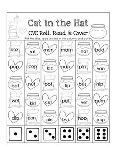 This is a fun Cat in the Hat themed CVC worksheet. Students roll a die, read a word, cover/color the picture. Cvc Worksheets, Roll A Die, Touch Math, Word Free, Cvc Words, School Themes, Numeracy, Daily 5, Free Reading