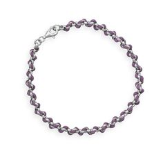 Rolo Chain and Purple Cord Bracelet