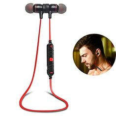 Bluetooth Headset, Magnet Attraction V4.0 Wireless Bluetooth Earbuds In-Ear Noise Reduction Headphones with Microphone for Running & Sports Earphones for iPhone Samsung Android Smart Phones (Red) Pobon