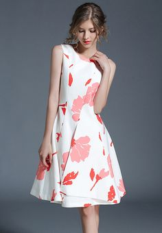 New In  Elegance Print Sl...    Check it out here! http://nbrandfashion.com/products/elegance-print-sleeveless-a-line-dress-nr1057-wht?utm_campaign=social_autopilot&utm_source=pin&utm_medium=pin